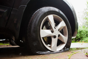 damaged flat tire