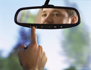 rear-view mirror in a car